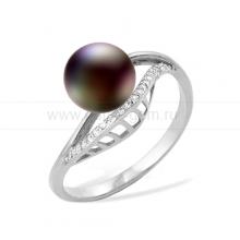 Кольцо из серебра с черной речной жемчужиной. Артикул 11449