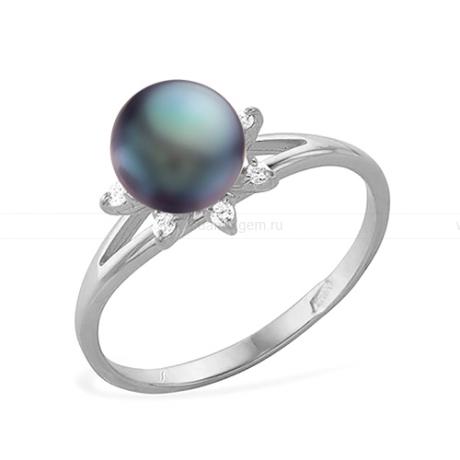Кольцо из серебра с черной жемчужиной 6-6,5 мм. Артикул 11450