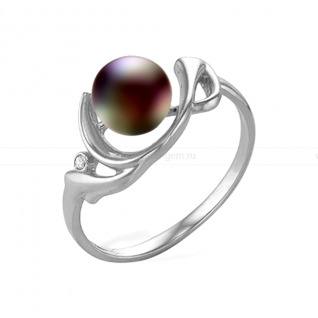 Кольцо из серебра с черной речной жемчужиной. Артикул 11451