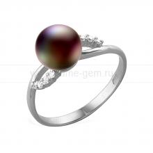 Кольцо из серебра с черной жемчужиной 7-7,5 мм. Артикул 11452