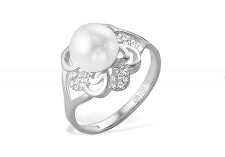Кольцо из серебра 925 пробы с белой речной жемчужиной 7-7,5 мм. Артикул 11458