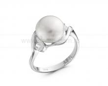 Кольцо из серебра белым жемчугом. Артикул 11461