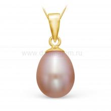 Кулон из серебра с розовой жемчужиной. Артикул 11477