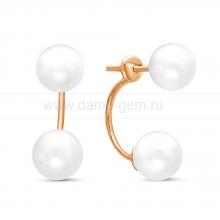 """Двойные пусеты """"Dior"""" с белым речным жемчугом. Артикул 11484"""