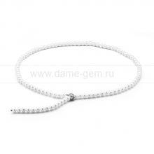 "Ожерелье ""галстук"" из белого круглого речного жемчуга 7-7,5 мм. Артикул 11489"