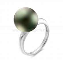 Кольцо с черной Таитянской жемчужиной. Артикул 11490