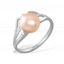 Кольцо из серебра с розовой жемчужиной 8 мм. Артикул 11491