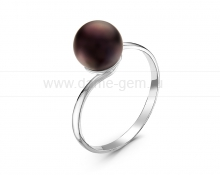 Кольцо из серебра с черной речной жемчужиной 7,5-8 мм. Артикул 11493