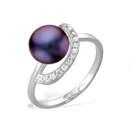 Кольцо из серебра с черной жемчужиной 7,5-8 мм. Артикул 11494