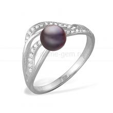 Кольцо из серебра с черной жемчужиной 8-8,5 мм. Артикул 11499