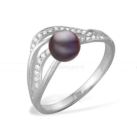 Кольцо из серебра с черной речной жемчужиной. Артикул 11499