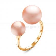 """Двойное кольцо """"Dior"""" с розовыми жемчужинами 7-10 мм. Артикул 11504"""