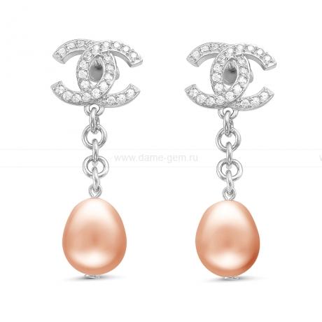 Серьги из серебра с розовыми жемчужинами. Артикул 11506