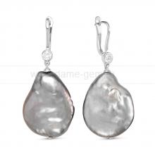 Серьги из серебра с серыми жемчужинами 21-27 мм. Артикул 11507