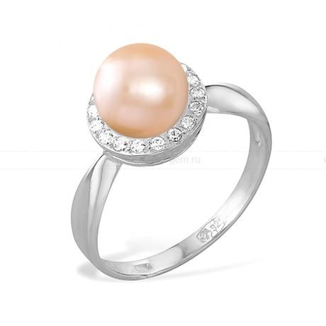Кольцо из серебра с розовой жемчужиной 8,5-9 мм. Артикул 11508