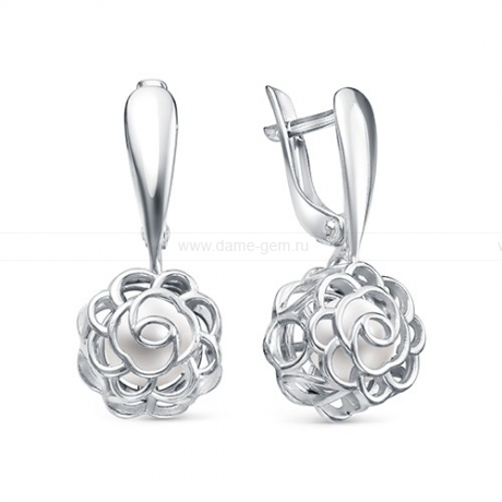 Серьги из серебра с белыми жемчужинами 6,5-7 мм. Артикул 11512