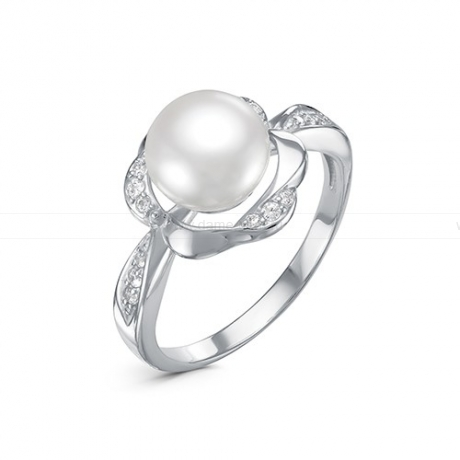 Кольцо из серебра с белой жемчужиной 8,5-9 мм. Артикул 11517