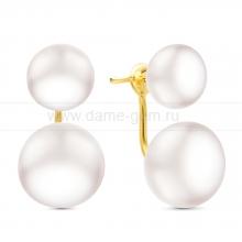 """Двойные пусеты """"Dior"""" с белым речным жемчугом. Артикул 11525"""