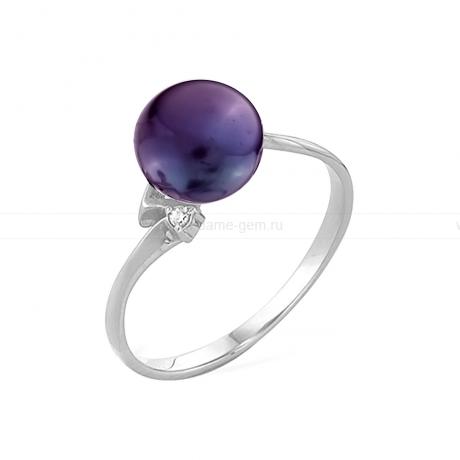 Кольцо из серебра с черной речной жемчужиной. Артикул 11530