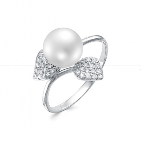 Кольцо из серебра с белой жемчужиной 8,5-9 мм. Артикул 11531