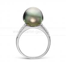 Кольцо из серебра с черной Таитянской жемчужиной 12-12,5 мм. Артикул 11532