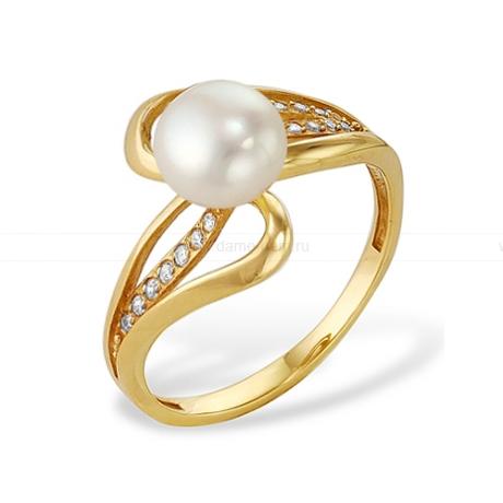 Кольцо с белой речной жемчужиной. Артикул 11536
