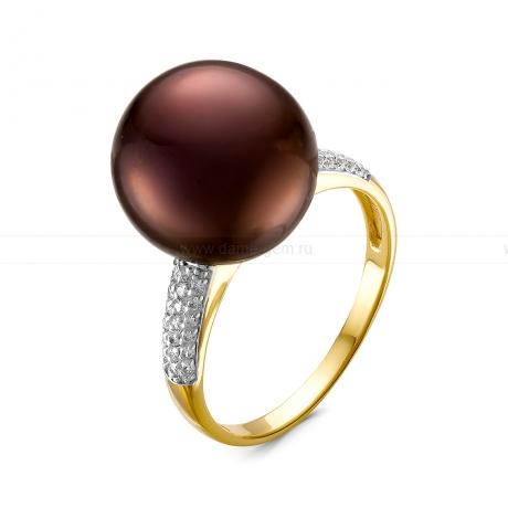 Кольцо с шоколадной речной жемчужиной. Артикул 11537