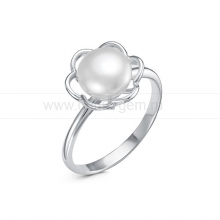 Кольцо из серебра с белой жемчужиной 7,5-8 мм. Артикул 11542