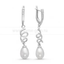 Серьги из серебра с белыми жемчужинами. Артикул 11545