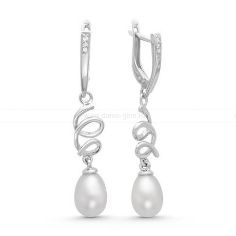 Длинные серьги из серебра с белыми жемчужинами 7,5-8 мм. Артикул 11545