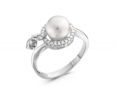 Кольцо из серебра 925 пробы с белой жемчужиной 8 мм. Артикул 11552