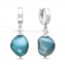 Серьги из серебра с голубыми жемчужинами. Артикул 11562