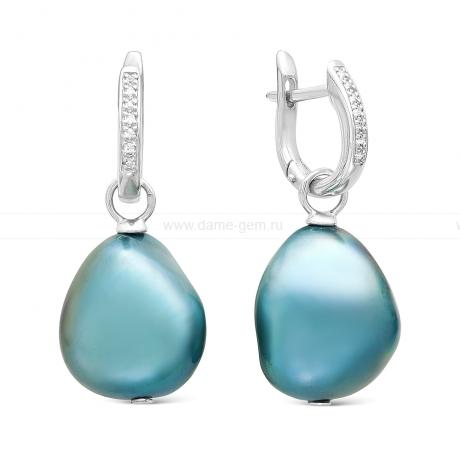 Серьги из серебра с голубыми жемчужинами 11-12 мм. Артикул 11563