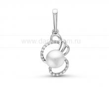 Кулон из серебра с белой жемчужиной. Артикул 11571