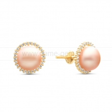 Серьги-пусеты из серебра с розовыми жемчужинами 7-7,5 мм. Артикул 11575