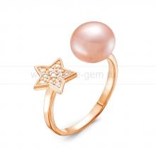 """Двойное кольцо """"Dior"""" с розовой жемчужиной 8,5-9 мм. Артикул 11582"""