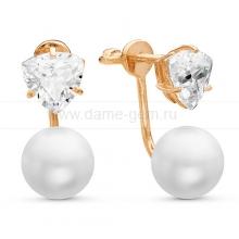 """Двойные пусеты """"Dior"""" с белым речным жемчугом. Артикул 11584"""