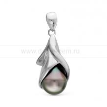 Кулон из серебра с черной Таитянской жемчужиной 10-11 мм. Артикул 11585