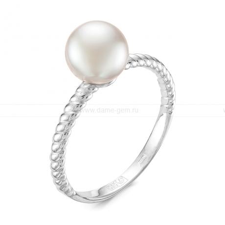Кольцо из серебра с белой жемчужиной 7,5-8 мм. Артикул 11586