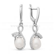 "Серьги ""Тюльпан"" из серебра с белыми жемчужинами 7,5-8 мм. Артикул 11590"