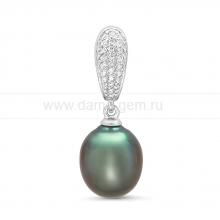 Кулон из серебра с черной Таитянской жемчужиной 10-12 мм. Артикул 11591