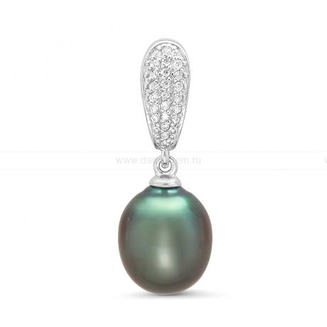 Кулон из серебра с черной Таитянской жемчужиной. Артикул 11591