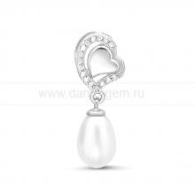 """Кулон """"Сердечко"""" из серебра с белой жемчужиной. Артикул 11593"""