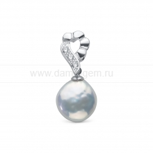 "Кулон из серебра с белой жемчужиной ""Барокко"" 13-13,5 мм. Артикул 11594"