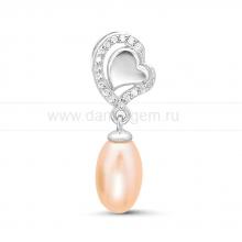 """Кулон """"Сердце"""" из серебра с розовой жемчужиной. Артикул 11595"""