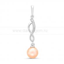 Кулон из серебра с розовой жемчужиной 8,5-9 мм. Артикул 11596