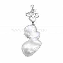 Кулон из серебра с белой барочной жемчужиной 20-25 мм. Артикул 11598