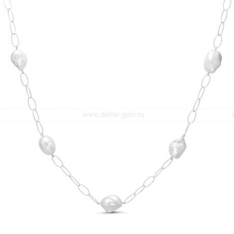 Колье из серебра с барочными жемчужинами 12-15 мм. Артикул 11605