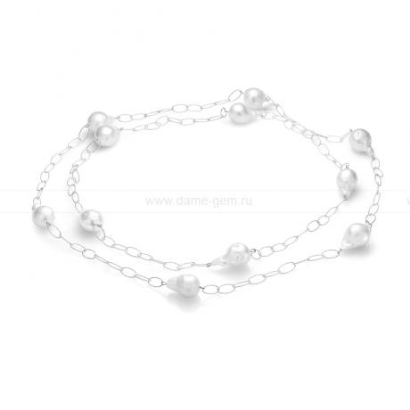 Колье из серебра с белыми барочными речными жемчужинами 13-16 мм. Артикул 11606