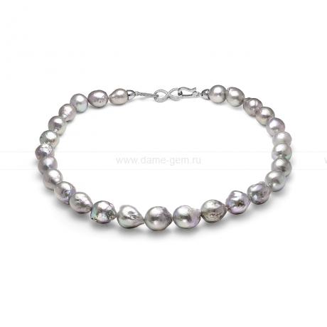 Колье (ожерелье) из серебристого барочного жемчуга. Артикул 11613